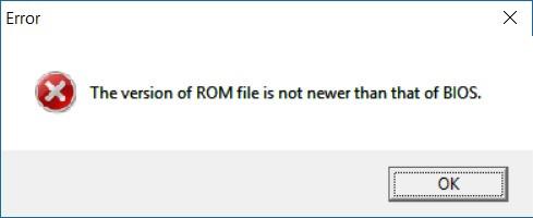 BIOS Downgrade Error